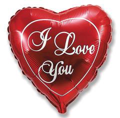 F Мини-сердце, Я люблю тебя, Красный, 9''/23см. / 5 шт. /