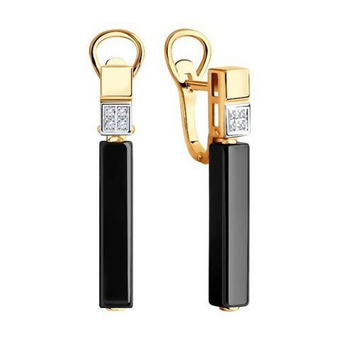 6025119 - Серьги из золота с бриллиантами и керамическими вставками