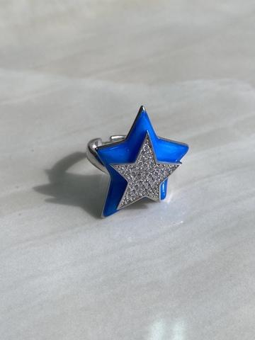 Кольцо Звезда синий, серебряный цвет