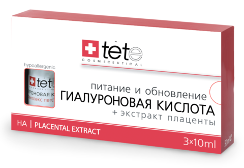Гиалуроновая кислота + Экстракт плаценты / TETe Hyaluronic Acid + Placental Extract 3*10 ml