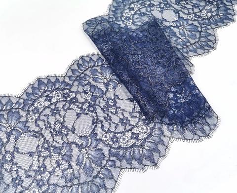 Кружево, шантильи, темно-синий с серебристым напылением, купон (1,45м), (арт: SK-1013), купон