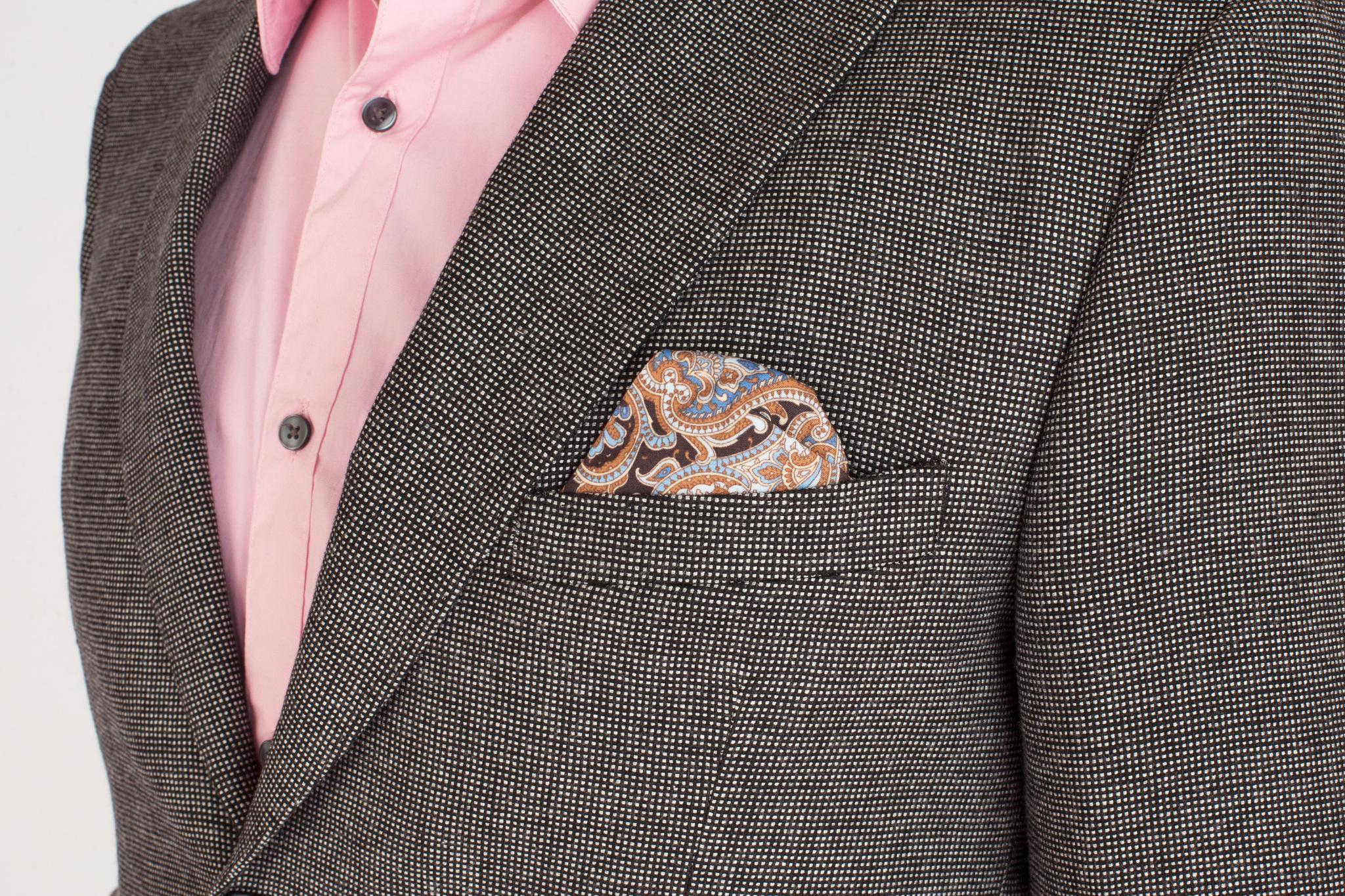 Серый хлопоковый пиджак, нагрудный карман