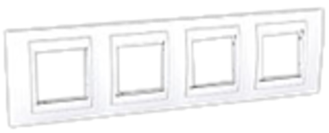 Рамка на 4 поста. Цвет Белый. Schneider electric Unica Хамелеон. MGU6.008.18