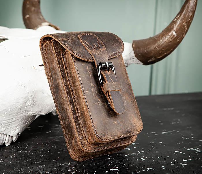BAG498-2 Мужская кожаная сумка на пояс коричневого цвета фото 02