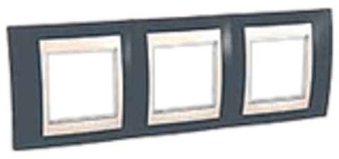 Рамка на 3 поста. Цвет Серо-зеленый/белый. Schneider electric Unica Хамелеон. MGU6.006.877