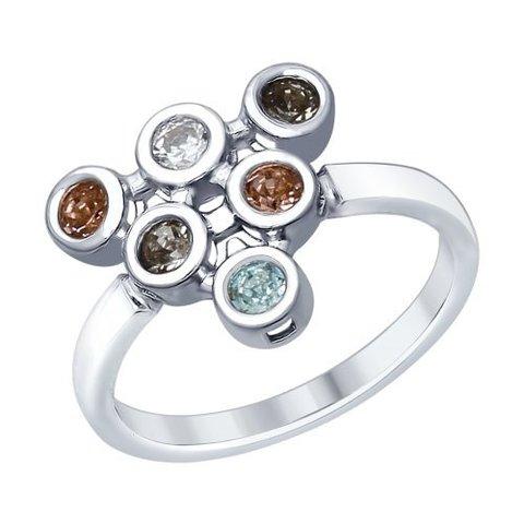 94012363 - Кольцо из серебра с кристаллами Swarovski