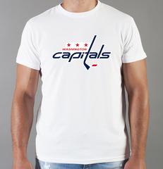 Футболка с принтом НХЛ Вашингтон Кэпиталз (NHL Washington Capitals) белая 002