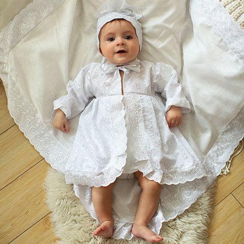 Папитто. Крестильный набор для девочки с ажурным кружевом