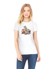 Футболка с принтом мультфильма Белоснежка и семь гномов (Snow White and the Seven Dwarfs) белая w0011