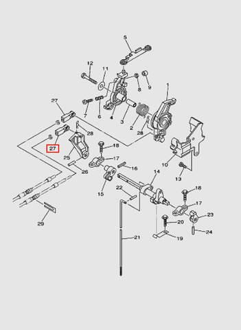 Наконечник кабеля дистанционного управления для лодочного мотора T40 Sea-PRO (16-27)