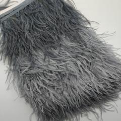 Тесьма  из перьев страуса h 10-15 см., серый (холодные)