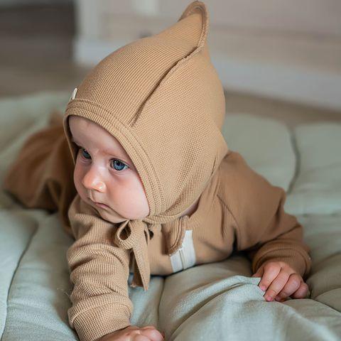 Ribbed baby hat 0+, Desert Sand