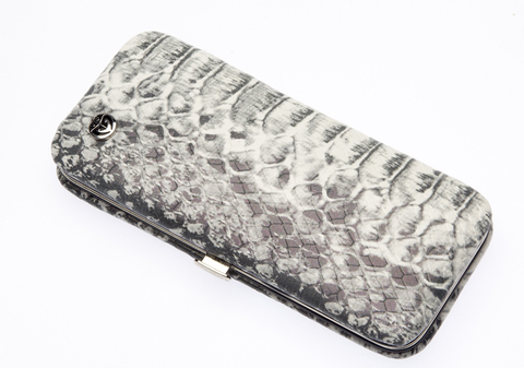Маникюрный набор GD, 5 предметов, кожаный футляр, цвет серый, рептилия