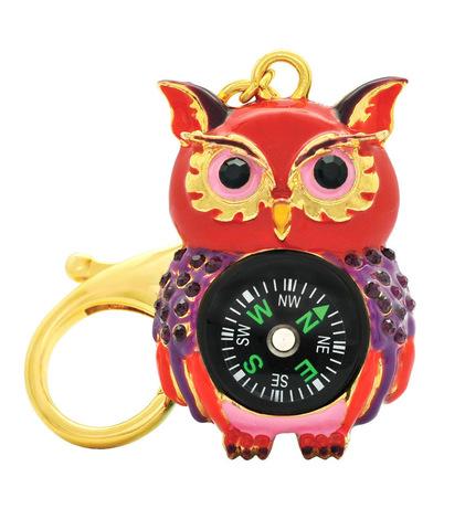 Брелок компас сова красная