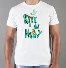 Футболка с принтом мультфильма Рик и Морти (Rick and Morty) белая 003