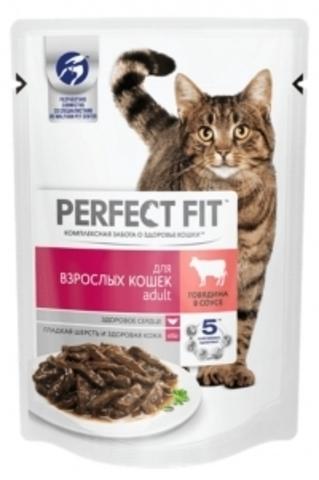 Perfect Fit Adult пауч для взрослых кошек (с говядиной) 85 г