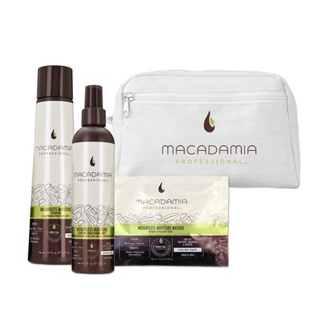 Macadamia Professional: Набор для тонких волос: шампунь, кондиционер-спрей, маска (Weightless Moisture Beauty Bag), 300мл+ 236мл+ 30мл
