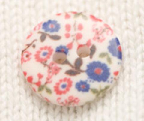 Пуговица с цветочным орнаментом, с красными и синими цветами, плоская, 18 мм