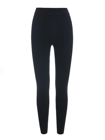 Женские брюки черного цвета с рельефными полосками из вискозы - фото 1