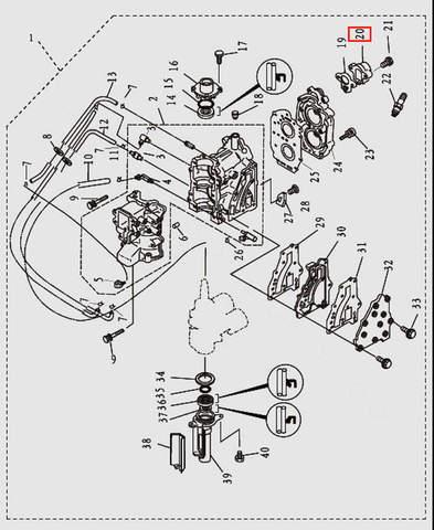 Крышка термостата для лодочного мотора T9.8 Sea-PRO (2-20)