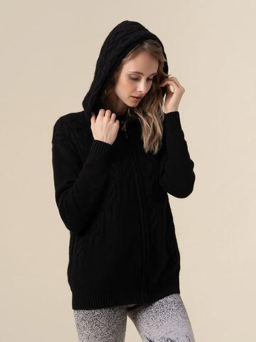 Женский джемпер черного цвета на молнии из 100% кашемира - фото 2