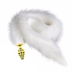Золотая втулка спираль с белым хвостом