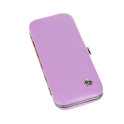 Маникюрный набор GD, 5 предметов, цвет сиреневый, кожаный футляр
