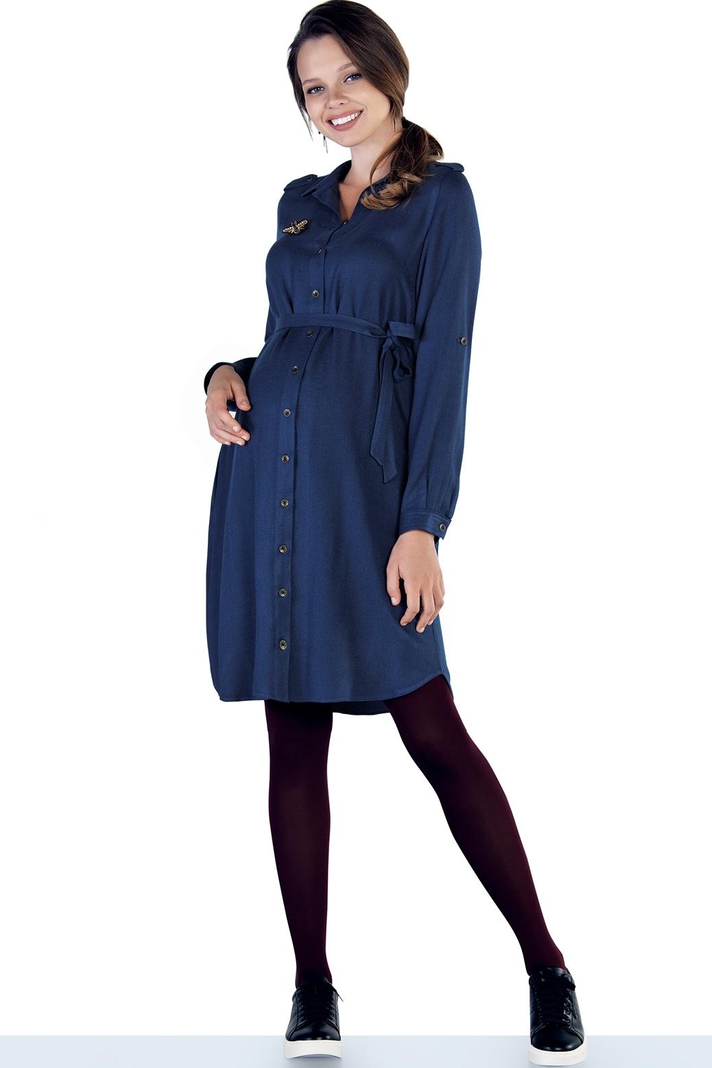 Фото платье-рубашка для беременных EBRU от магазина СкороМама, синий, размеры.