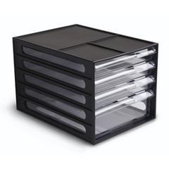 Бокс с выдвижными лотками закрытый Стамм 4 лотка черный/прозрачный (формат A4)