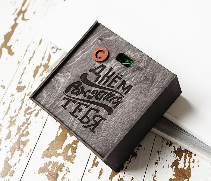 BOX227-1 Деревянная коробка для подарка на День рождения (17*17*7 см) фото 03