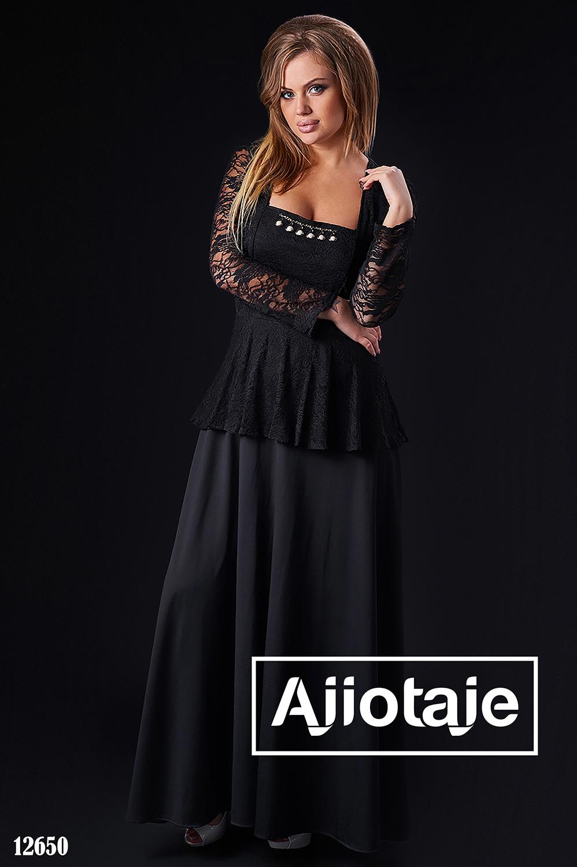Черное платье в пол с вырезом каре