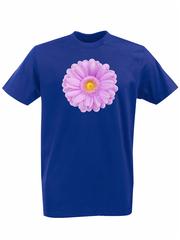 Футболка с принтом Цветы (Герберы) синяя 001