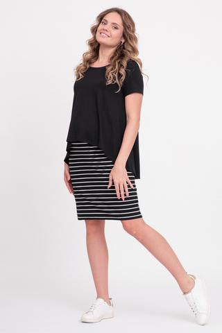 Платье для беременных и кормящих 10429 полоска черн/бел