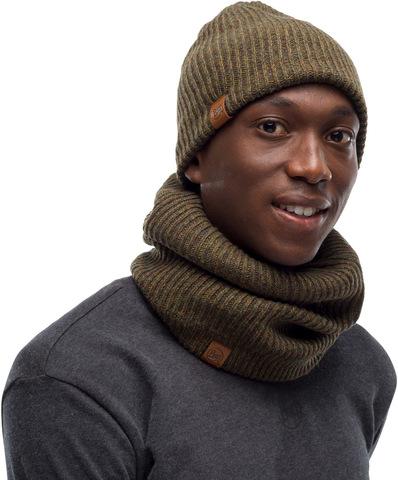 Комплект шапка шарф вязаный с флисом Buff Lyne Bark фото 1