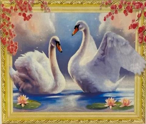 Алмазная Мозаика 5D 40x50 Белоснежные лебеди (арт. HZ8095)