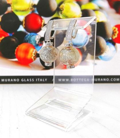 Серьги из муранского стекла со стразами Daniella Ca'D'oro Medio Topaz Silver 008OB