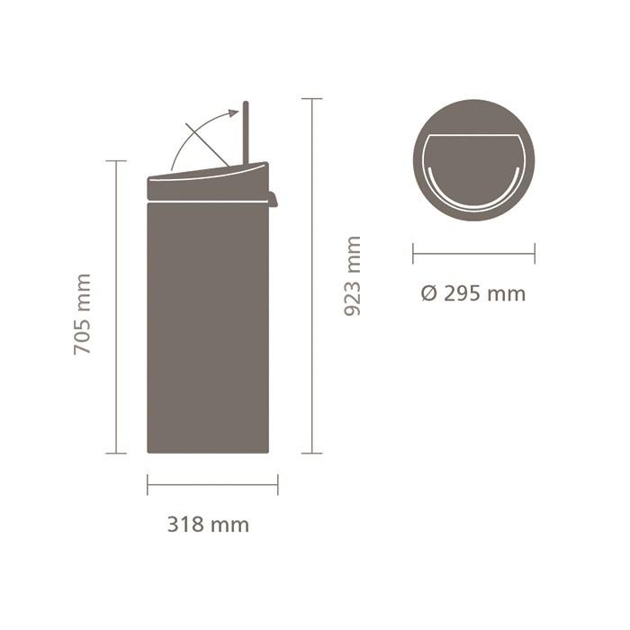 Мусорный бак Touch Bin New (30 л), Стальной матовый, арт. 115349 - фото 1