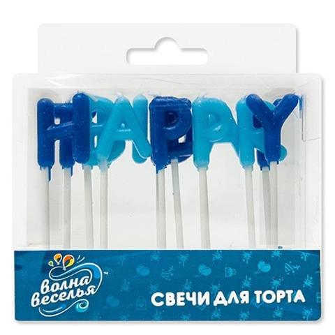 Свечи-буквы, С Днем Рождения, Синий, 4 см, 1 шт.