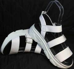 Пляжные босоножки на сплошной подошве женские Evromoda 3078-107 Sport White