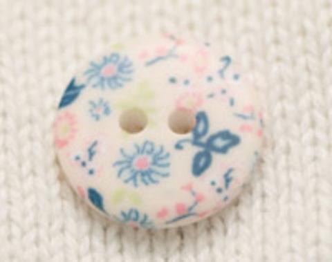 Пуговица с цветочным орнаментом, с голубыми цветами, в пастельных тонах, плоская, 18 мм