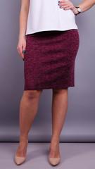 Пион ангора. Офисная юбка больших размеров. Бордо.