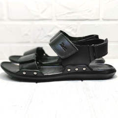 Кожаные босоножки сандали на липучке Zlett 7083 Black.