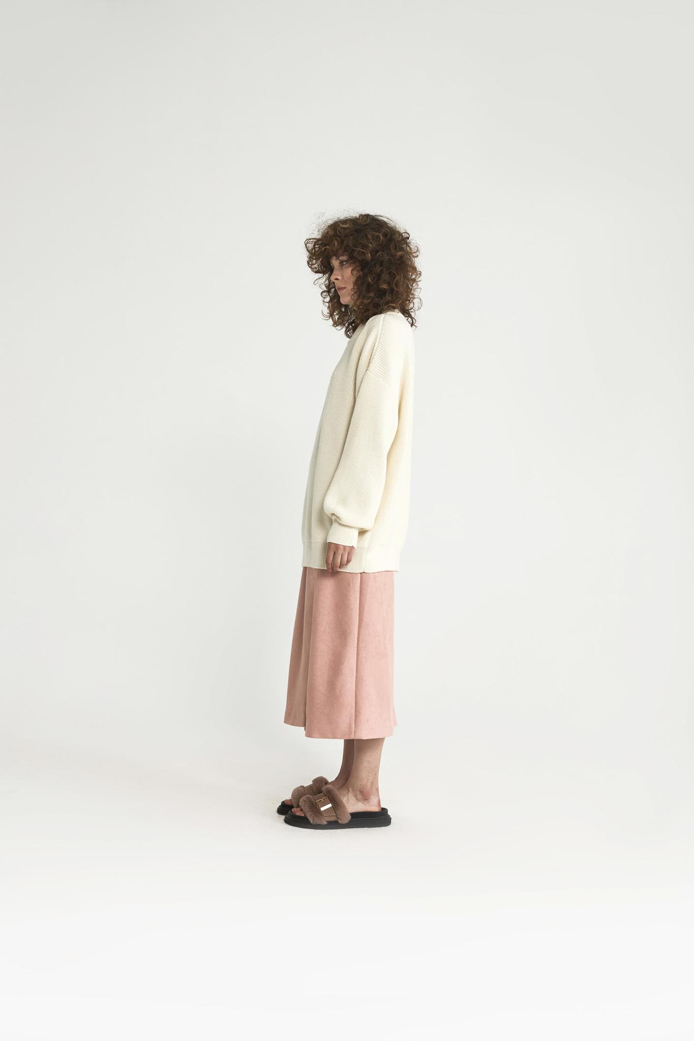 Юбка длинная на запах из искусственной замши, розовая пудра