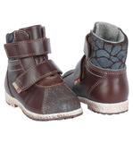 Ботинки для мальчиков Лель (LEL) из натуральной кожи на байке на липучках цвет коричневый. Изображение 2 из 6.
