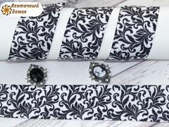 Лента репсовая Черные завитки на белом 38 мм