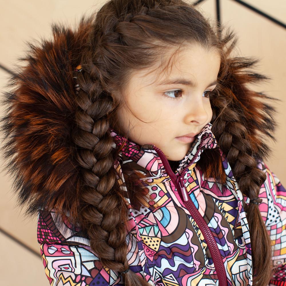 Дитячий зимовий костюм з натуральної опушкою для дівчаток