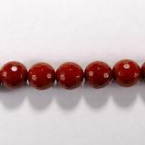 Бусина из яшмы красной, фигурная, 10 мм (шар, граненая)