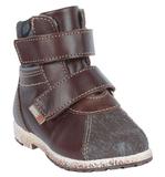 Ботинки для мальчиков Лель (LEL) из натуральной кожи на байке на липучках цвет коричневый. Изображение 3 из 6.