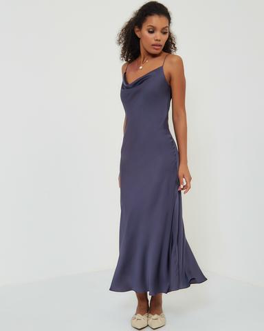Платье-комбинация в черничном цвете