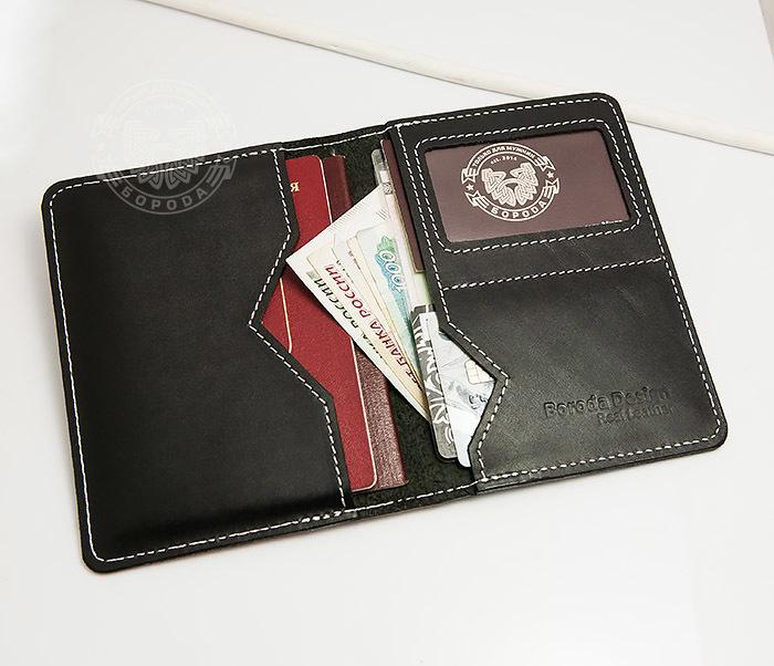 WB134-1 Кошелек с отделением для паспорта, карт и окошком. «Boroda Design» фото 06
